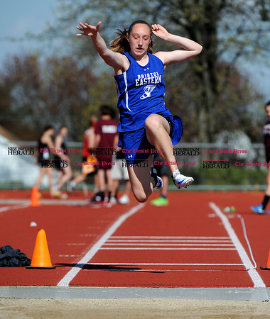 4/28/2017 Mike Orazzi | Staff Bristol Eastern's Jordan Ouellette in the long jump during the Bristol Central Invitational Track Meet in Bristol Friday.
