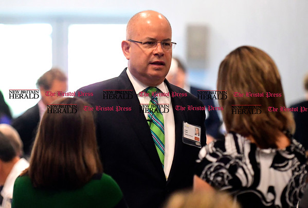 4/28/2017 Mike Orazzi | Staff Bristol Hospital President and CEO Kurt Barwis during the Annual Corporators Meeting at the DoubleTree by Hilton Thursday morning.