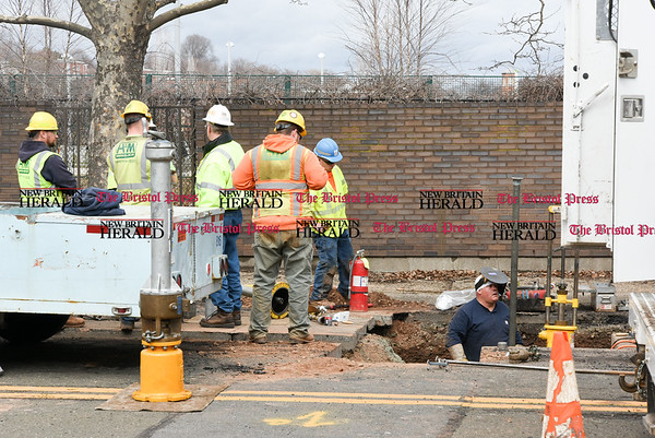 040517 Wesley Bunnell | Staff Work is taking place on underground gas lines on Columbus Blvd in order to eventually widen the walkway.