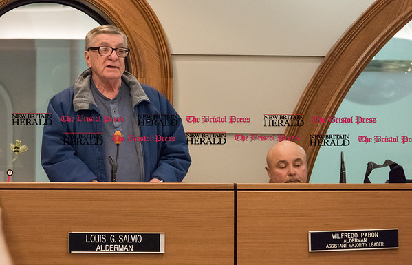 040517 Wesley Bunnell | Staff The New Britain Committee of Administration, Finance and Law voted to table a resolution regarding salary adjustments for elected and appointed officials on Wednesday evening. Alderman Louis Salvio spoke for the resolution.