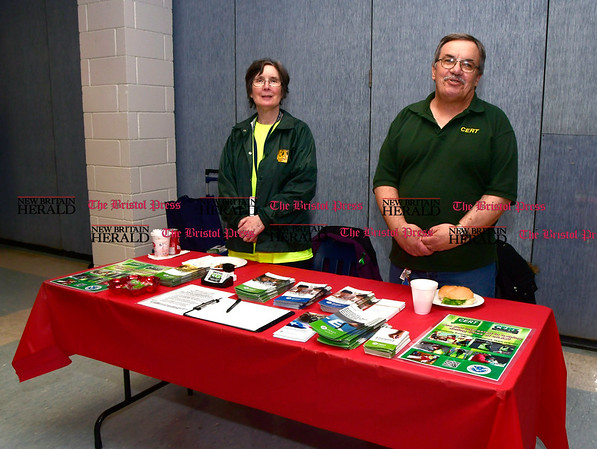 4/7/2017 Mike Orazzi | Staff Bristol CERT team's Sue Radke and Sam Alkas during The Bristol Press & New Britain Herald and Connecticut Prime Time's 3rd Annual Senior Fair held at Bristol Eastern High School Saturday.