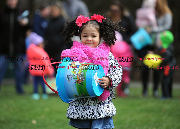 4/7/2017 Mike Orazzi | Staff Sofia Barnett during the Berlin Parks and Recreation Department's annual Easter Candy Hunt Saturday afternoon.