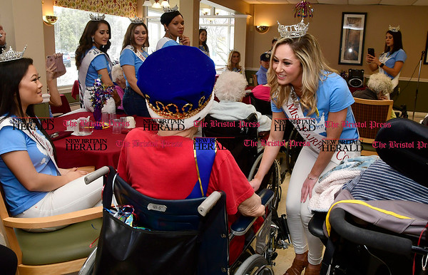 Miss Fairfield County 2017 Eliza Lynne Kanner sings &quote;God Bless America&quote; during a visit to Countryside Manor Saturday morning in Bristol. She was there with other Miss Connecticut hopefuls as part of Miss Connecticut Alyssa Rae Taglia' &quote;Smiles for Seniors&quote; program.