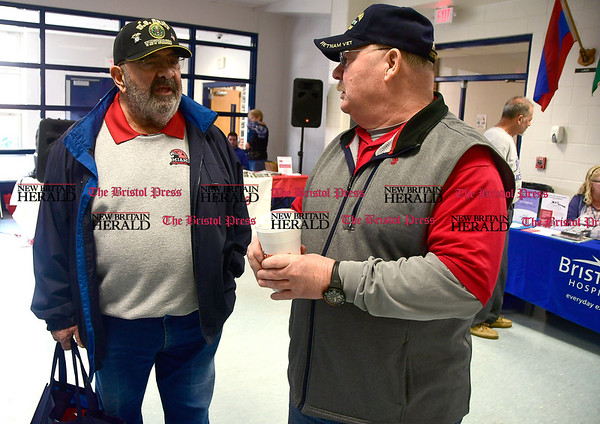 4/7/2017 Mike Orazzi | Staff Bob Badal and Tim Gamache talk during The Bristol Press & New Britain Herald and Connecticut Prime Time's 3rd Annual Senior Fair held at Bristol Eastern High School Saturday.