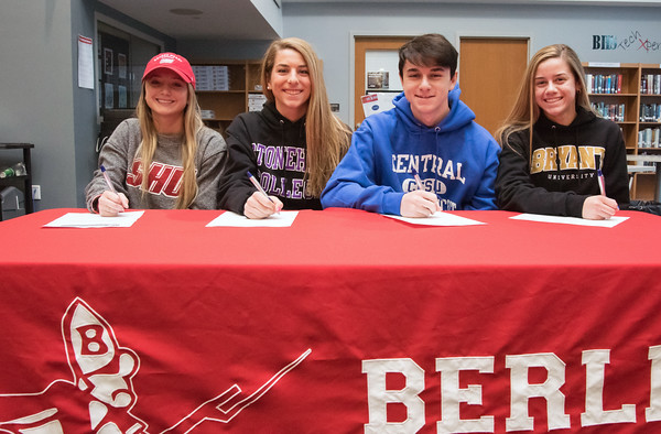 04/05/18 Wesley Bunnell | Staff Berlin High School students signed their letters of intent to play college sports on Thursday morning at Berlin High School. Lexi Kaversky, L, committed to Sacred Heart, Julia Sisti committed to Stonehill, Noah Silverman to CCSU and Nikki Xiarhos to Bryant.
