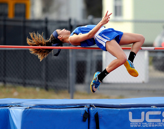4/5/2018 Mike Orazzi | Staff Plainville High School's Samantha Lozefski in high jump at Plainville High School Thursday afternoon.