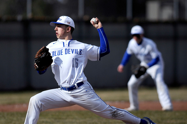 4/5/2018 Mike Orazzi | Staff Plainville High School's Nathan Michalek (16) Thursday afternoon.