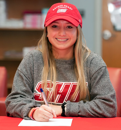 04/05/18 Wesley Bunnell | Staff Berlin High School student athlete Lexi Kavarsky signed her letter of intent Thursday morning to join Sacred Heart University's track team.