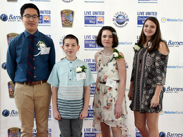 4/5/018 Mike Orazzi | Staff Youth Live United Award candidates, Isaac Baek, Dominic Caves, Madison Foley and Madison Maske during the United Way of West Central Connecticut's 16th Annual Community Builders' Reception Thursday night.
