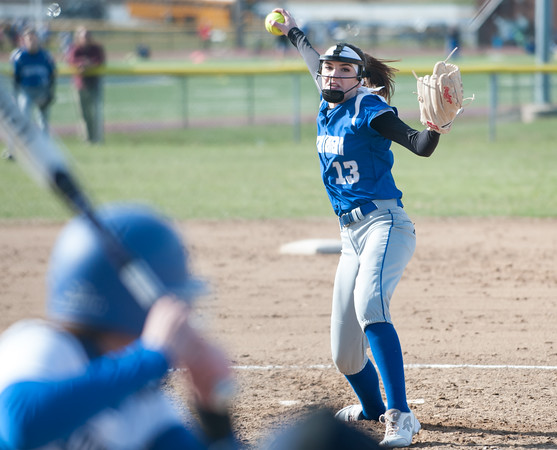 04/09/18 Wesley Bunnell | Staff Southington softball defeated Bristol Eastern 6-1 at Southington High School on Monday afternoon. Erin Girard (13)