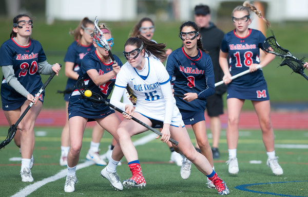 04/19/18 Wesley Bunnell | Staff Southington girls lax vs Brien McMahon at Southington High School on Thursday afternoon. Brooke Lynch (16).