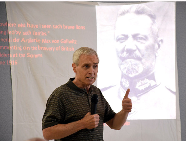 4/19/2018 Mike Orazzi | Staff Terrence J. Finnegan during a program on the 100 year anniversary of the Battle of Seicheprey held at the American Legion Post 2, which is named after the battle.