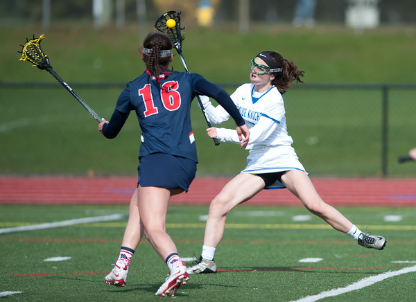 f04/19/18 Wesley Bunnell | Staff Southington girls lax vs Brien McMahon at Southington High School on Thursday afternoon. Emma Doran (2).