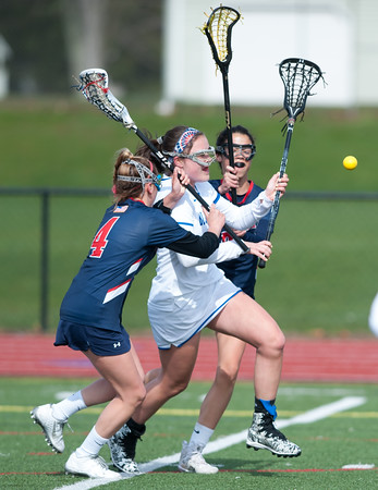 04/19/18 Wesley Bunnell | Staff Southington girls lax vs Brien McMahon at Southington High School on Thursday afternoon. Amy Chudy (14).