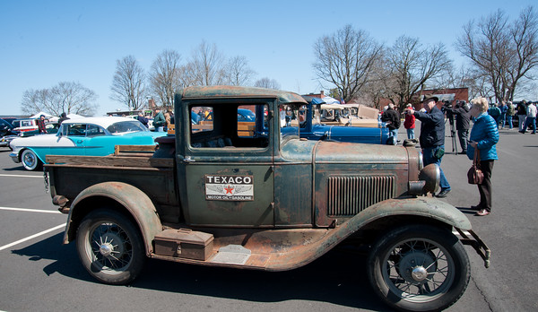 04/21/18 Wesley Bunnell | Staff A 1931 Ford Model A truck featuring a Texaco gas station sign owned by Ralph Hermann sits in a row at the Klingberg Family Center. The Klingberg Vintage Motorcar Series held their April event on Saturday with a focus on the Ford Model A.
