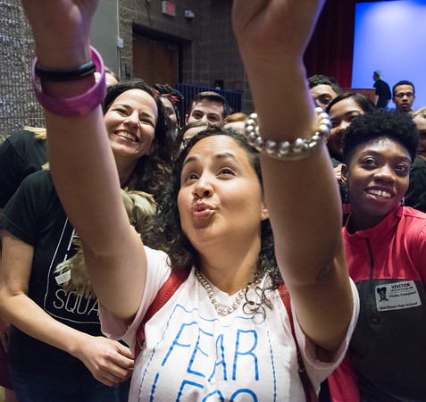 04/23/18 Wesley Bunnell | Staff Broadway star Mandy Gonzalez , L, poses for a selfie taken by Nelba Marquez-Greene along with students and Broadway dancer Khalia Campbell, R, at the conclusion of a workshop with students from New Britain High School, CCSU and CREC on Monday at New Britain High School. The workshop titled Broadway on Mill Street was a partnership with CCSU, the Ana Grace Project and CSDNB and CREC. Gonzalez is known for portraying Nina Rosario in the musical In the Heights, Elphaba in Wicked and is currently staring in Hamilton.