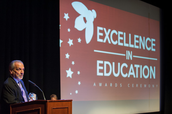 04/23/18 Wesley Bunnell | Staff The Consolidated School District of New Britain held their Excellence in Education Awards Ceremony on Monday evening at New Britain High School. Chief Operating Officer Paul Salina speaks after receiving an award.