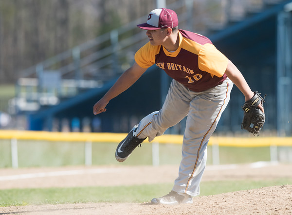 04/23/18 Wesley Bunnell | Staff New Britain baseball defeated Southington 9-8 in extra innings on Monday afternoon in a contest played at Southington High School. Ruffino Santiago (16)