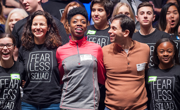 04/23/18 Wesley Bunnell | Staff Posing for a group photo at the conclusion of a workshop are Broadway star Mandy Gonzalez, L, Broadway dancer Khalia Campbell and Broadway composer David Dabbon as they stand with students from New Britain High School, CCSU and CREC on Monday at New Britain High School. The workshop titled Broadway on Mill Street was a partnership with CCSU, the Ana Grace Project and CSDNB and CREC. Gonzalez is known for portraying Nina Rosario in the musical In the Heights, Elphaba in Wicked and is currently starting in Hamilton.