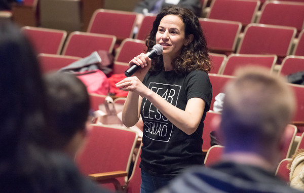 04/23/18 Wesley Bunnell | Staff Broadway star Mandy Gonzalez speaks students while conducting a workshop with students from New Britain High School, CCSU and CREC on Monday at New Britain High School. The workshop titled Broadway on Mill Street was a partnership with CCSU, the Ana Grace Project and CSDNB and CREC. Gonzalez is known for portraying Nina Rosario in the musical In the Heights, Elphaba in Wicked and is currently starting in Hamilton.