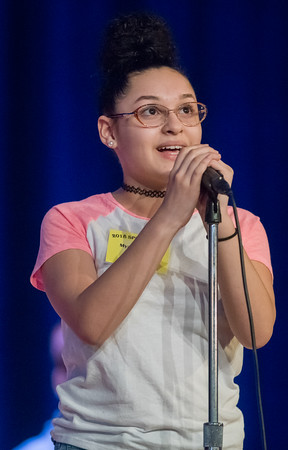 04/25/18 Wesley Bunnell | Staff The Consolidated School District of New Britain held its District Middle School Spelling Bee Championship at Slade Middle School on Wednesday evening. 6th grader Mya Gandolfo from Pulaski Middle School.