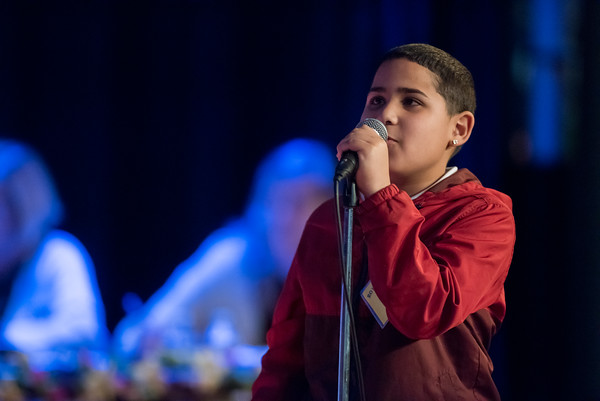 04/25/18 Wesley Bunnell | Staff The Consolidated School District of New Britain held its District Middle School Spelling Bee Championship at Slade Middle School on Wednesday evening. 6th grader Carlos Suarez from Slade Middle School.
