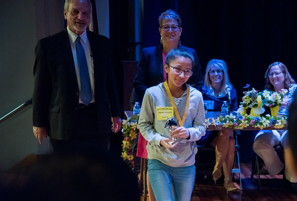 04/25/18 Wesley Bunnell | Staff The Consolidated School District of New Britain held its District Middle School Spelling Bee Championship at Slade Middle School on Wednesday evening. Augustine Bounyarath from HALS won the 6th grade competition.