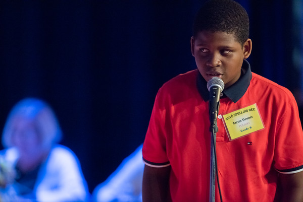 04/25/18 Wesley Bunnell | Staff The Consolidated School District of New Britain held its District Middle School Spelling Bee Championship at Slade Middle School on Wednesday evening. 6th grader Aaron Dennis from Pulaski Middle School.