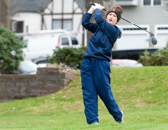 04/30/18 Wesley Bunnell | Staff Newington girls golf vs New Britain on Monday afternoon at Indian Hill Golf Club in Newington. Newington's Jessica Pierschalski on the first tee.