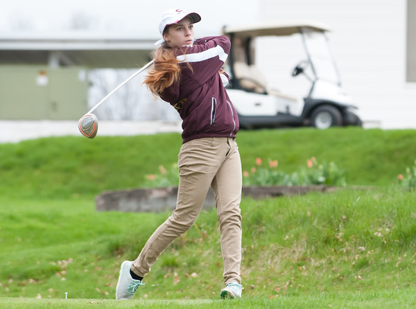 04/30/18 Wesley Bunnell | Staff Newington girls golf vs New Britain on Monday afternoon at Indian Hill Golf Club in Newington. New Britain's Kiley Griffin on the first tee.