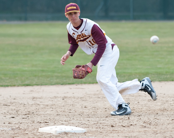 04/11/18 Wesley Bunnell | Staff New Britain baseball was defeated by Bristol Eastern on Wednesday afternoon at Beehive Field. Will Homar (10) tracks a ball down the third base line.
