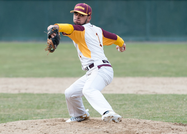 04/11/18 Wesley Bunnell | Staff New Britain baseball was defeated by Bristol Eastern on Wednesday afternoon at Beehive Field. Danniel Rivera (1).
