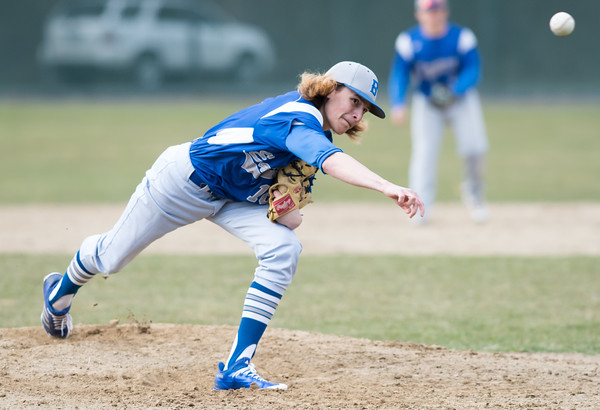04/11/18 Wesley Bunnell | Staff New Britain baseball was defeated by Bristol Eastern on Wednesday afternoon at Beehive Field. Jagger Duquette (16).