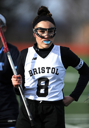 4/11/2018 Mike Orazzi | Staff Bristol Co-op lacrosse's Gabby Abramczyk (8) at Bristol Central Wednesday.