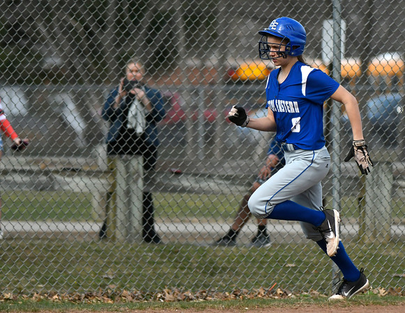 4/13/2018 Mike Orazzi | Staff Bristol Eastern's Zoe Lowe (8) during Friday's softball with Enfield in Bristol.