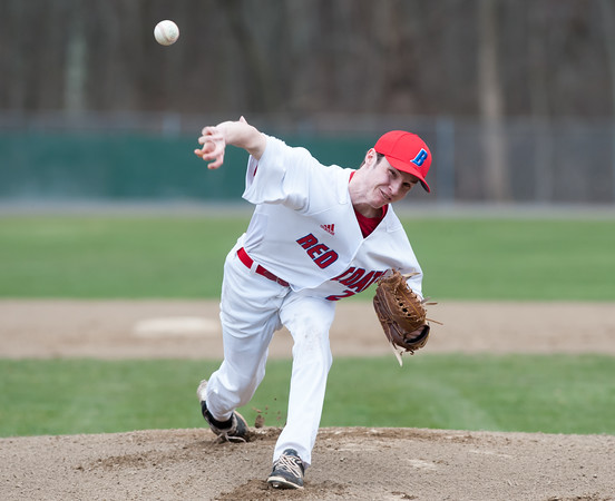 04/13/18 Wesley Bunnell | Staff Berlin High School baseball defeated Northwest Catholic on Friday afternoon immediately after the dedication of Paul Baretta Field. Starting pitcher Ethan Skinner (24).