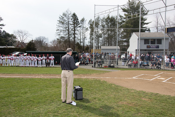 04/13/18 Wesley Bunnell | Staff Mayor Mark Kaczynski gives a speech at the beginning of the dedication of Paul Baretta Field. The Town of Berlin dedicated Paul Baretta Field at Percival Park on April 13th before the Berlin High School baseball game vs Northwest Catholic.