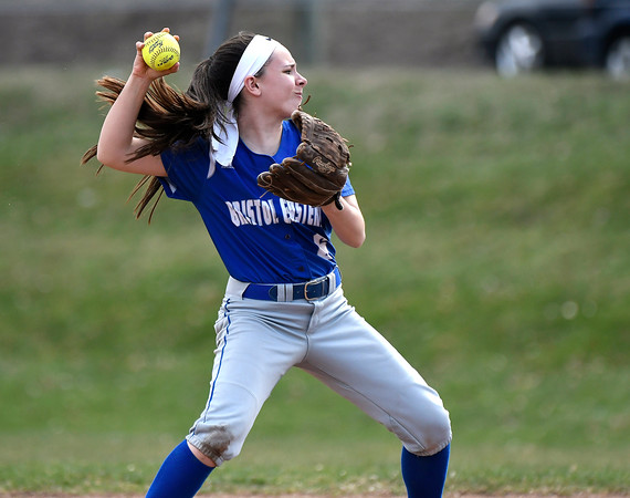 4/13/2018 Mike Orazzi | Staff Bristol Eastern's Taylor Keegan (6) during Friday's softball with Enfield in Bristol.