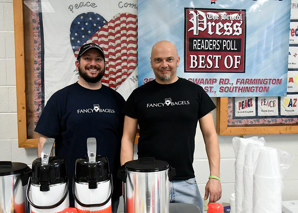 4/14/2018 Mike Orazzi | Staff Fancy Bagels' Dominick Gualtieri and Salvatore Belcaro during the Prime Time Senior Fair held at Bristol Eastern High School Saturday.