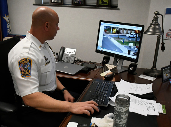 4/17/2018 Mike Orazzi | Staff Bristol Police Chief Brian Gould talks about a partnership with community surveillance cameras.