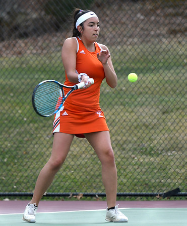 4/18/2018 Mike Orazzi | Staff Watertown's Julia D'Occhio during Wednesday's tennis match with St. Paul in Bristol's Page Park.