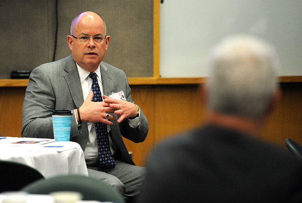 4/18/2018 Mike Orazzi | Staff Bristol Hospital President and CEO Kurt Barwis during the Central Connecticut Chambers of Commerce Legislative Action Committee Legislative Roundtable breakfast held at Bristol Hospital Wednesday morning.