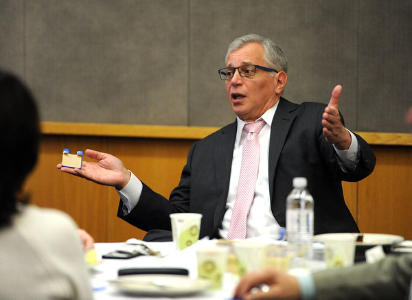 4/18/2018 Mike Orazzi | Staff State Representative Chris Ziogas during the Central Connecticut Chambers of Commerce Legislative Action Committee Legislative Roundtable breakfast held at Bristol Hospital Wednesday morning.