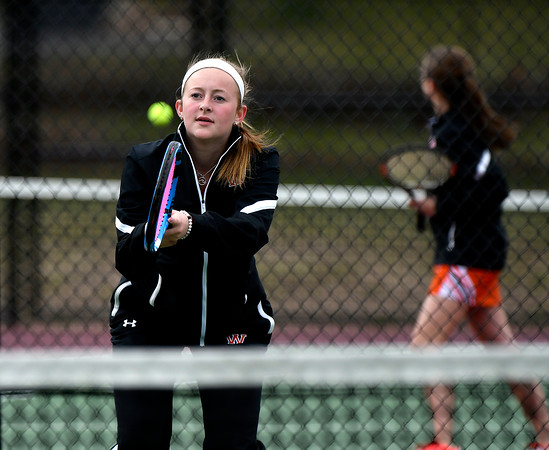 4/18/2018 Mike Orazzi | Staff Watertown's Elizabeth Rinaldi during Wednesday's tennis match with St. Paul in Bristol's Page Park.