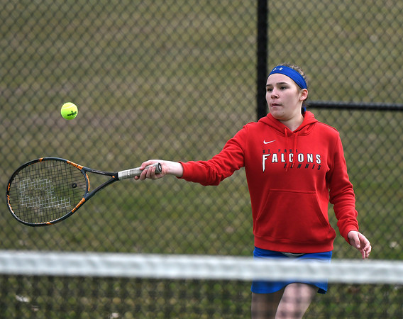 4/18/2018 Mike Orazzi | Staff St. Paul's Alexis Carabetta in a doubles match during Wednesday's tennis match with Watertown in Page Park.