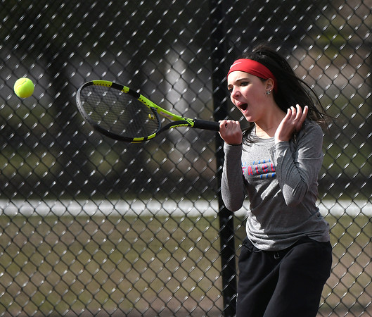 4/18/2018 Mike Orazzi | Staff St. Paul's Victoria Kilbourne during Wednesday's tennis match with Watertown in Page Park.