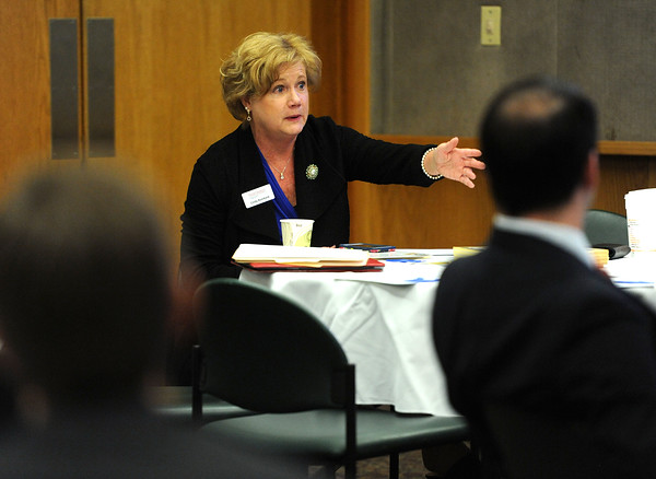 4/18/2018 Mike Orazzi | Staff Cindy Bombard President & CEO Central Connecticut Chambers during the chambers Legislative Action Committee Legislative Roundtable breakfast held at Bristol Hospital Wednesday morning.