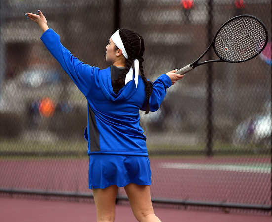 4/18/2018 Mike Orazzi | Staff St. Paul's Ximena Varela-Marin during Wednesday's tennis match with Watertown in Page Park.