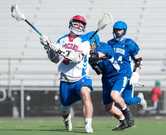 04/20/18 Wesley Bunnell   Staff Berlin boys lax defeated Bristol Eastern 18-3 on Friday afternoon at Sage Park. TJ Hebert (6) and Alex Durand (9).
