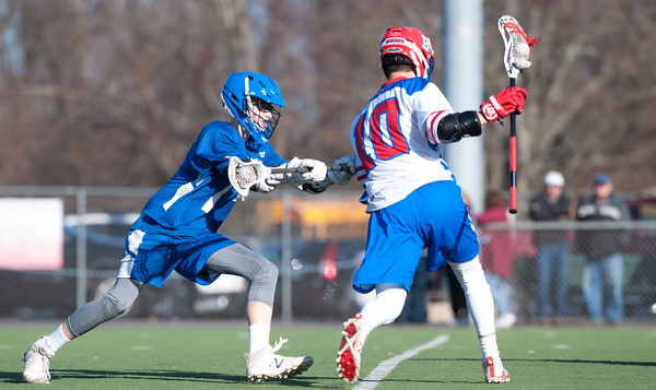 04/20/18 Wesley Bunnell   Staff Berlin boys lax defeated Bristol Eastern 18-3 on Friday afternoon at Sage Park. Jeffrey Taillon (11) and Luke Wininger (10).